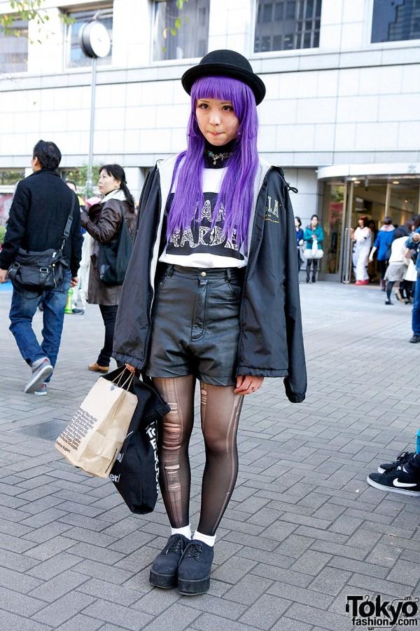 Purple Hair, Leather Shorts, Alien Earring, Avant Garde & Bubbles in Tokyo