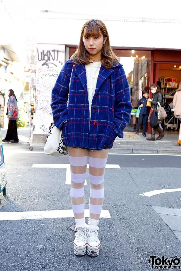 Blue Coat w/ Kinji Sweater, Striped Tights & Platform Sneakers