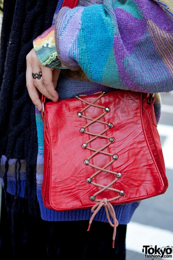 Red lace-up bag
