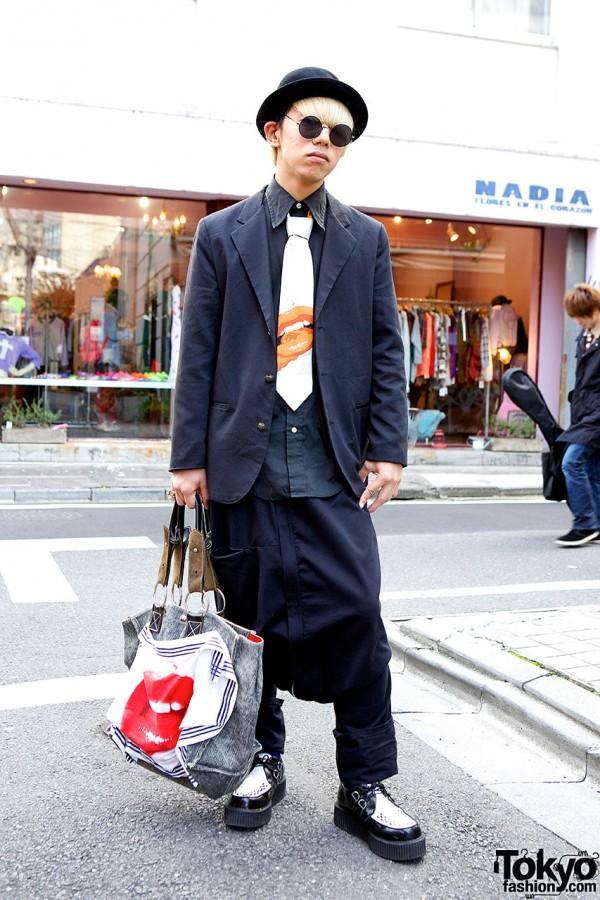 Vivienne Westwood Lip Bag, Bowler Hat & Creepers in Harajuku