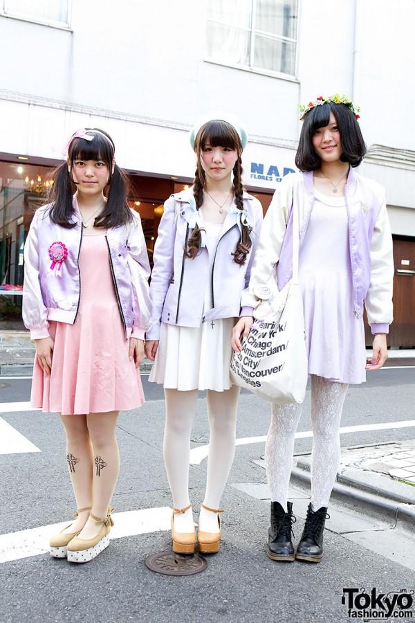Three Harajuku Girls w/ Matching Pastel E Hyphen World Gallery Dresses