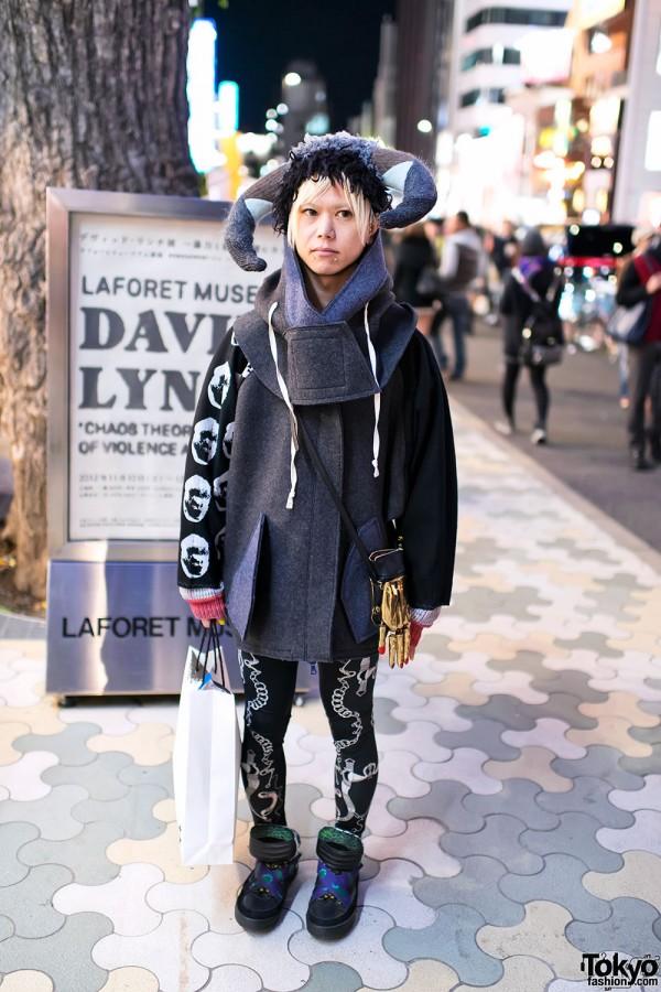 Takuma in Harajuku w/ Nozomi Ishiguro Horns & Oversized Coat