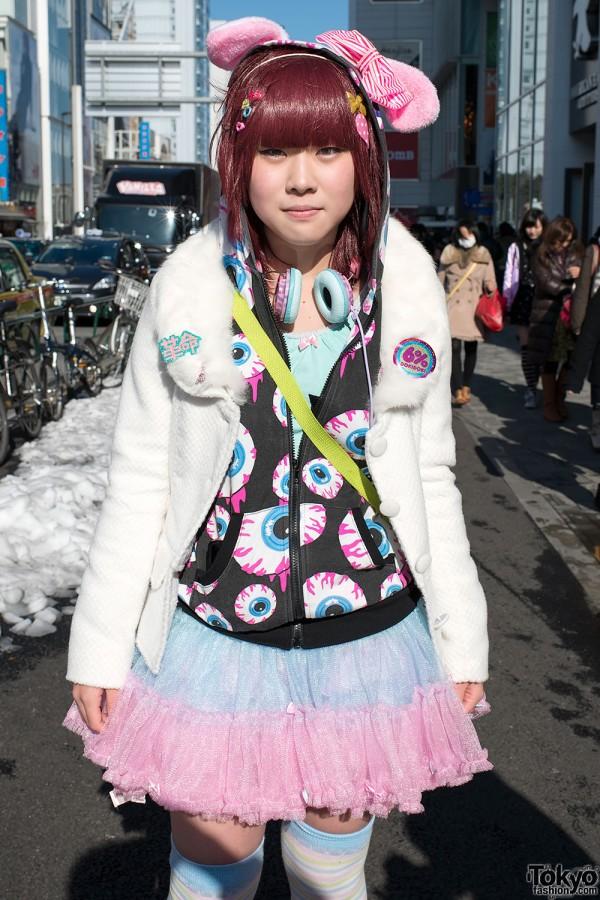 Eyeball Hoodie & Tulle Skirt in Harajuku