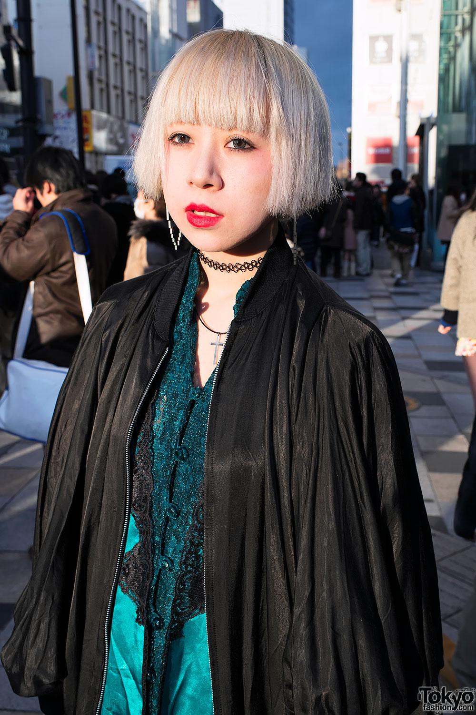 Marvelous Japanese Fashion Student W Blonde Bob Amp Pixel Heart Earring In Hairstyles For Men Maxibearus