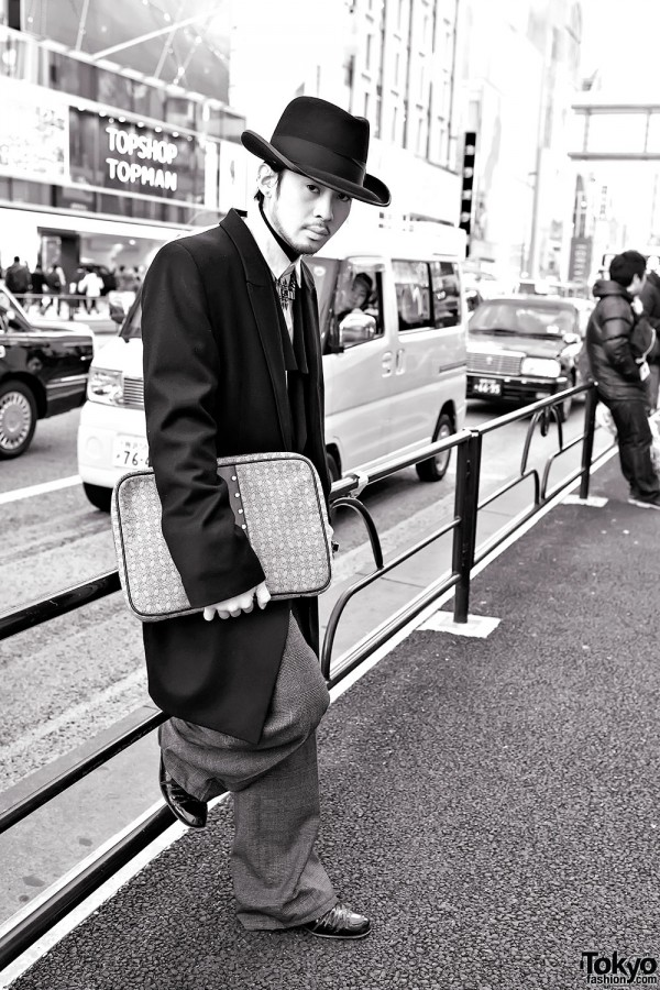 Aran in Harajuku w/ Trussardi Clutch, Fedora & Statement Necklace