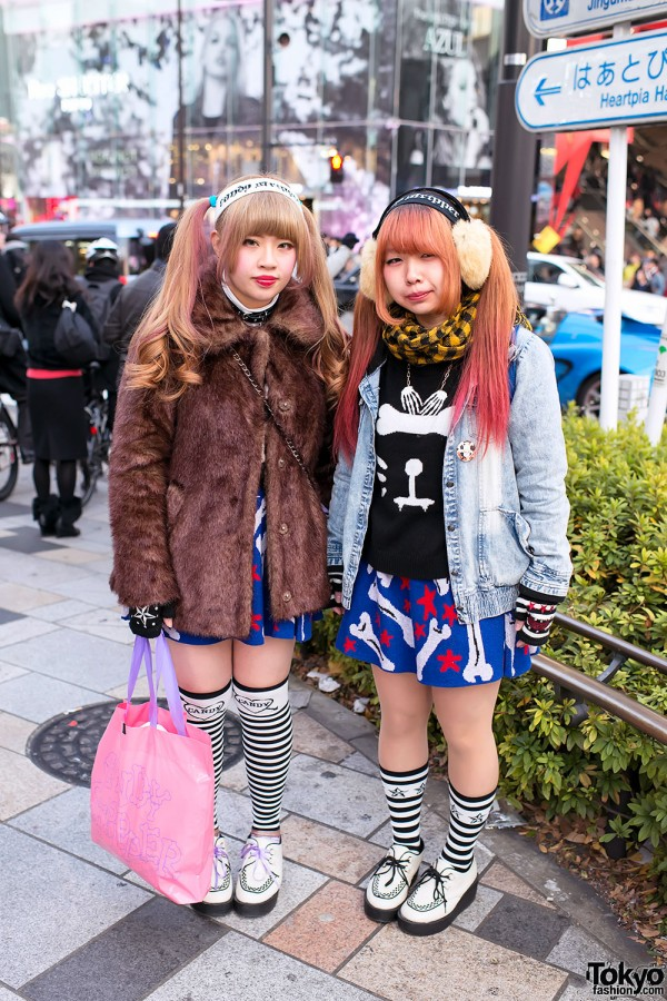 Candy Stripper Pair Look w/ Ombre Hair, Bone Cat Sweaters & Creepers