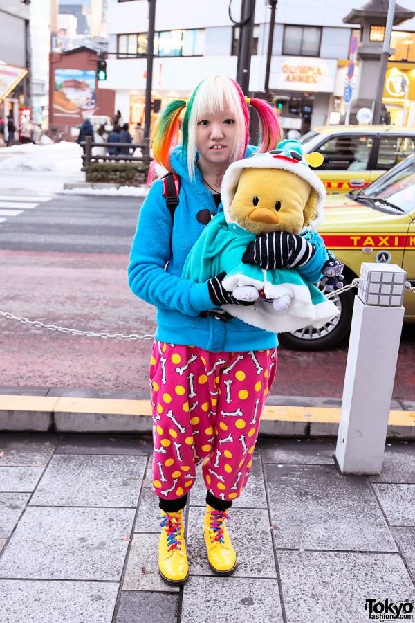 Sarueru Pants & Rainbow Hair in Harajuku
