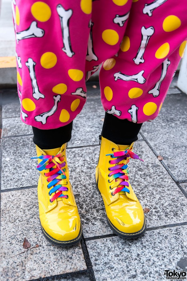 Yellow Patent Boots & Rainbow Laces