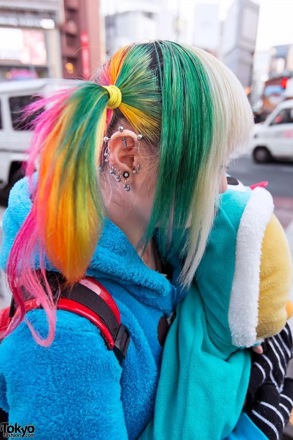Piercings & Rainbow Hairstyle