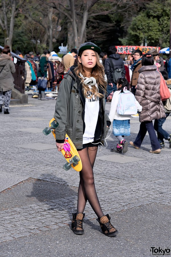 Blonde Harajuku Girl w/ Supreme, Stussy & Topshop Leopard Sneakers