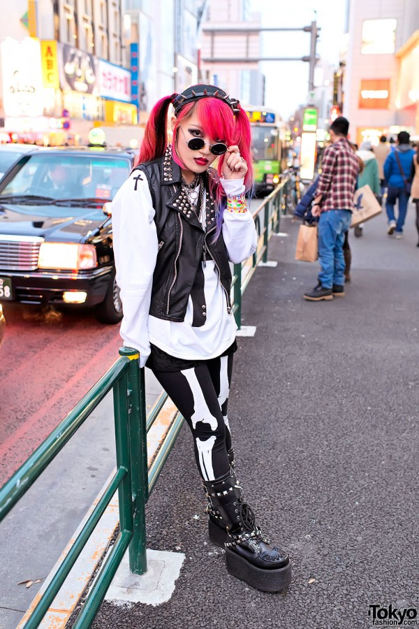 Studded Vest & Dip Dye Hair in Harajuku