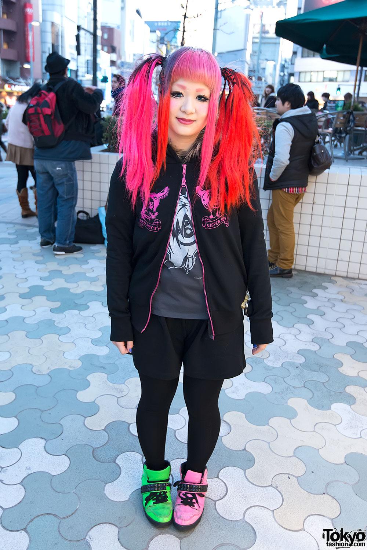 Glay Hoodie & Neon Hair in Harajuku