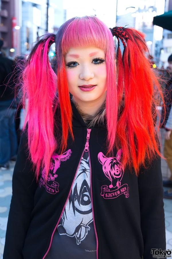 Neon Red & Pink Hair in Harajuku