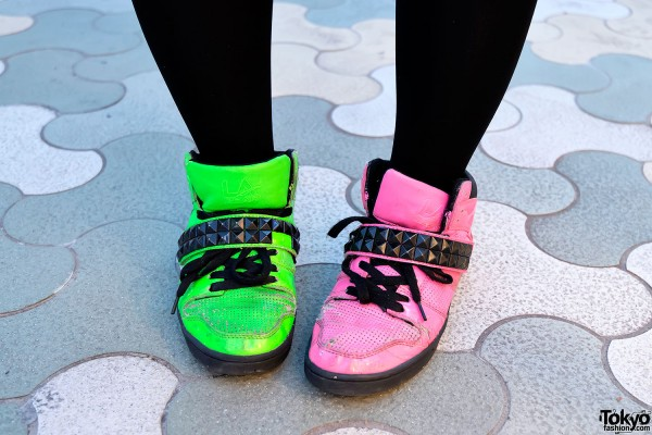 Pink & Green LA Gear Sneakers