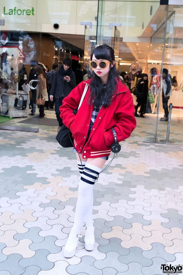 Bright Red Jacket, Over The Knee Tube Socks & Very Brain in Harajuku