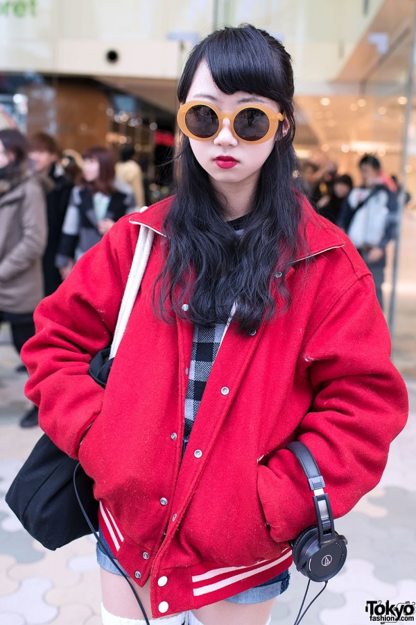 Mayupu in Red Coat in Harajuku
