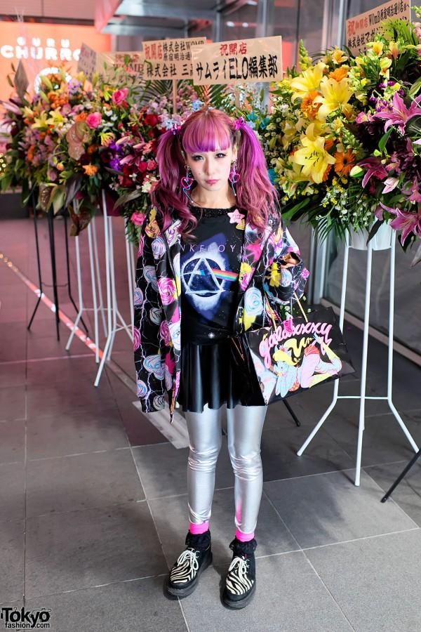 Pink Hair, Pink Floyd, Silver Tights & Zebra Creepers in Harajuku