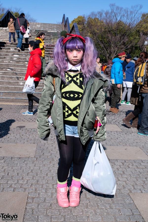 Pretty Purple Hair, Bomber Jacket & Pink Air Jordan Sneakers in Harajuku