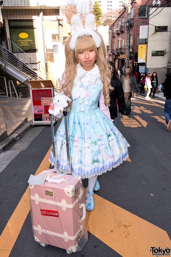 Angelic Pretty Sweet Lolita w/ Bunny Ears & Liz Lisa Lucky Bag in Harajuku