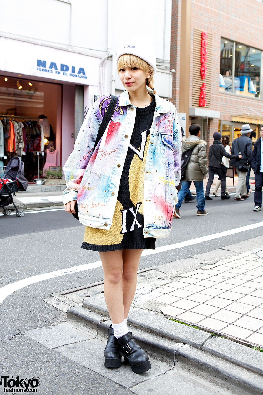 Harajuku style icon una in acid wash jacket pin nap sweater Japanese fashion style icon