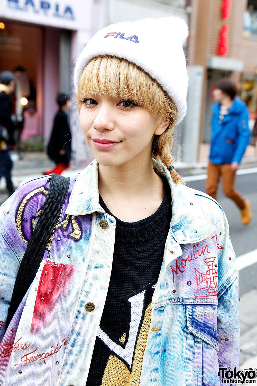 Harajuku Style Icon Una In Acid Wash Jacket Amp Pin Nap Sweater