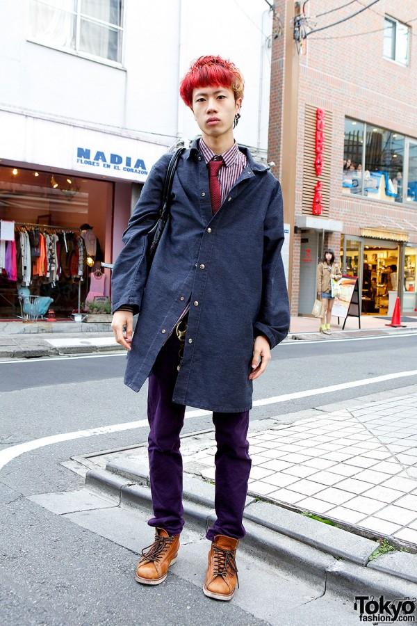Harajuku Guy w/ Red Hair, Purple Uniqlo Jeans & Chippewa Boots
