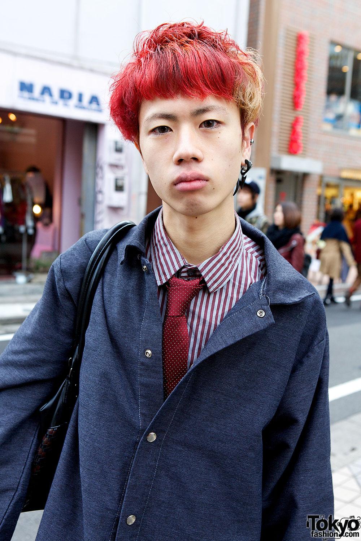 Harajuku Guy W Red Hair Purple Uniqlo Jeans Chippewa Boots