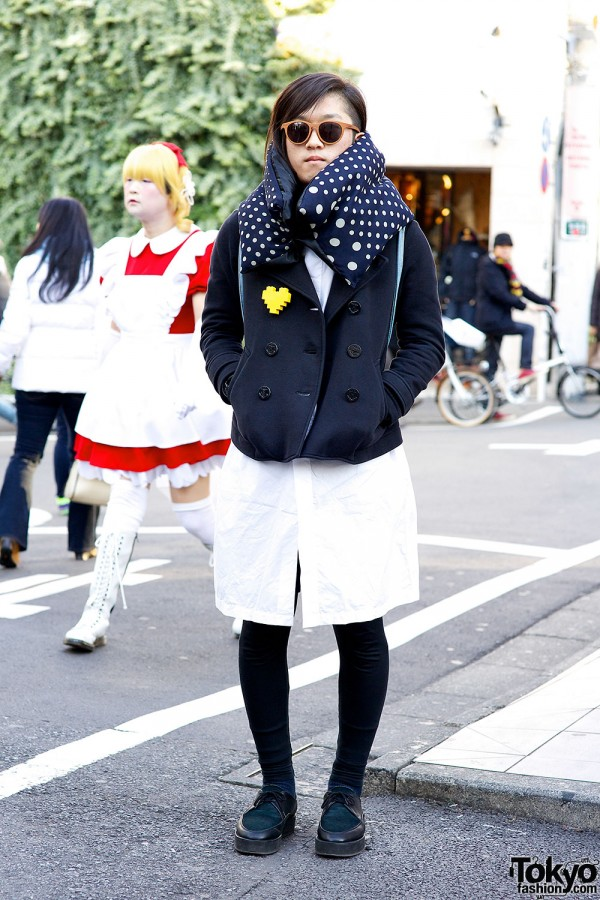 Uniqlo Jacket w/ Lego Heart Pin & Lad Musician Oxfords in Harajuku