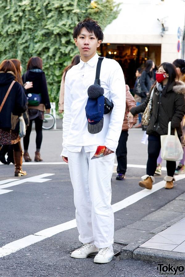 All White Fashion w/ Comme des Garcons & Supreme in Harajuku
