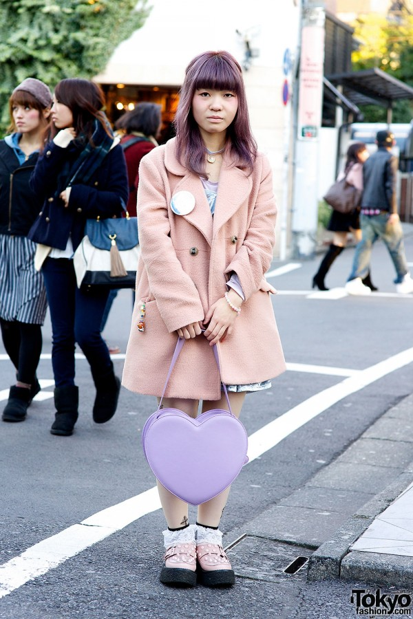 Sweet Pastel Look w/ Pink Studded Candy Stripper Creepers & Heart Bag