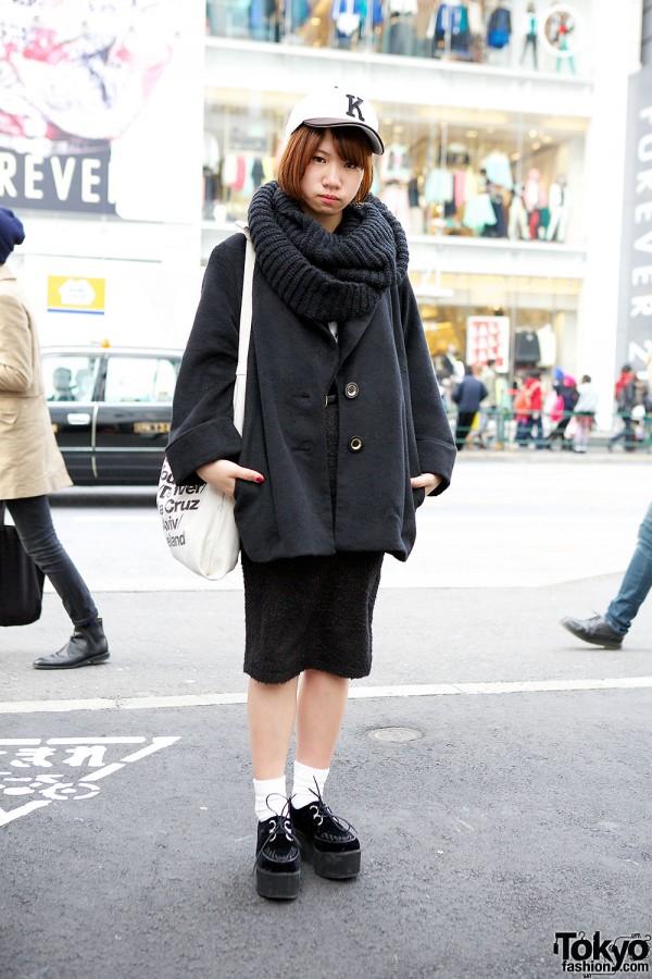 Harajuku Student in Vanquish Skirt, Cowl, ANAP & WEGO Creepers