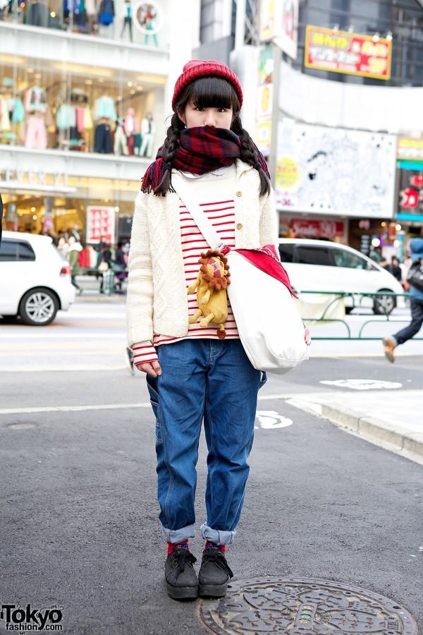 Harajuku Girl w/ Stripes, Knit, Denim, Lion & Lowrys Farm Shoes