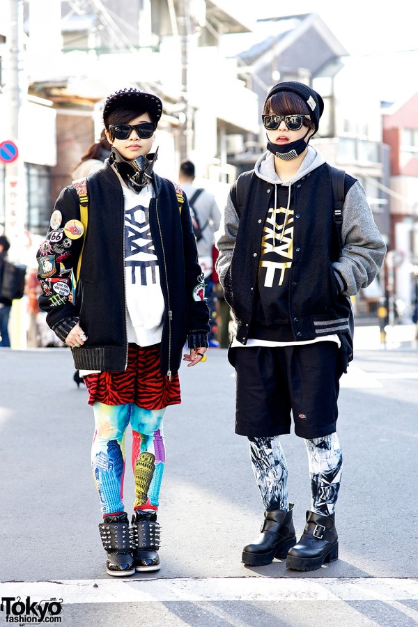 The Kim Twins in Harajuku w/ Face Masks, Galaxxxy & Jeffrey Campbell