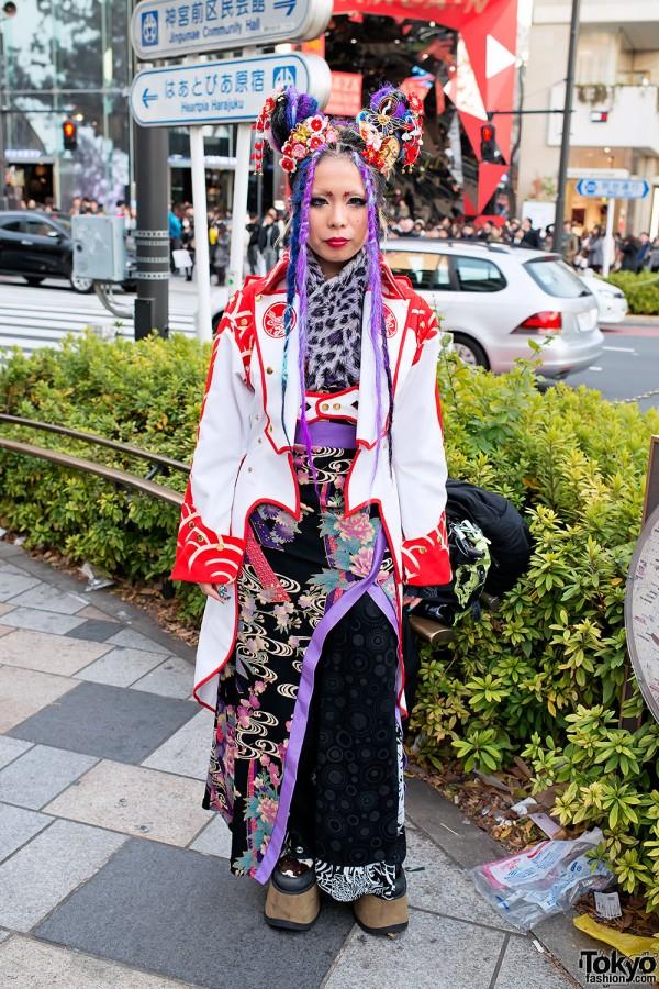 Kandi Raver Ichika's Winged Kimono by Takuya Angel in Harajuku