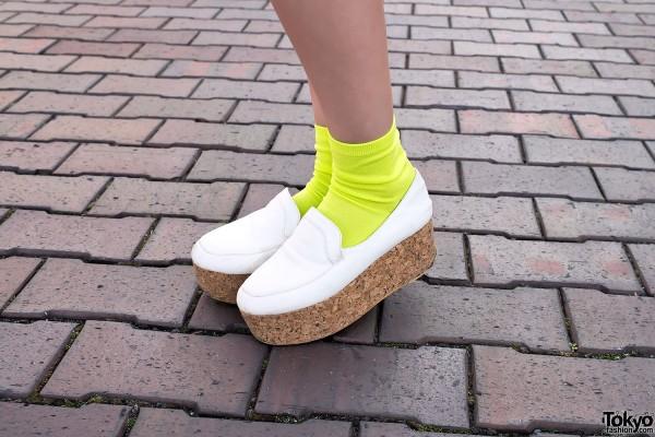 Cork Platform Shoes & Neon Socks