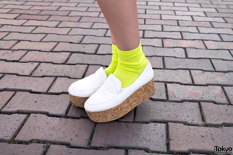 f837838fcdc Cork Platform Shoes   Neon Socks