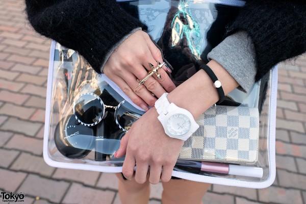 Transparent Clutch & Louis Vuitton Wallet