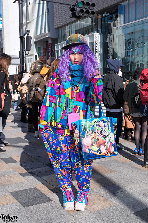 Harajuku Decora W/ Purple Hair, Colorful Fashion