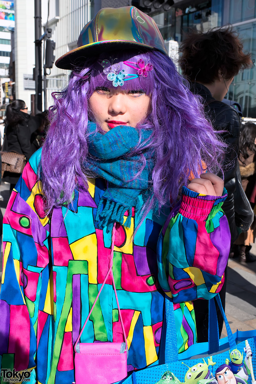 harajuku decora w purple hair colorful fashion spongebob