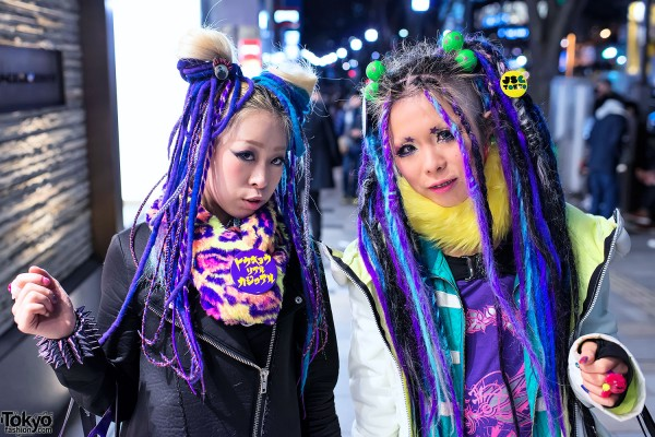 Purple & Blue Hair Falls in Harajuku