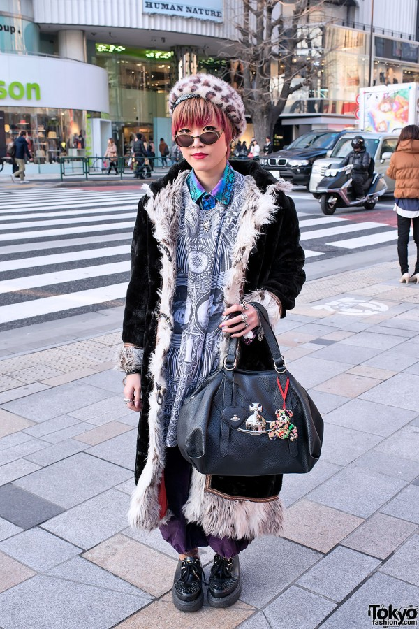 Shearling Coat, Alice Black Jewelry & Pink-tipped Hair in Harajuku