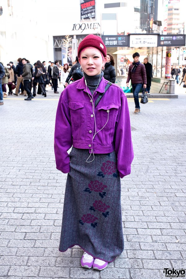 Purple Denim & Long Dress in Shibuya