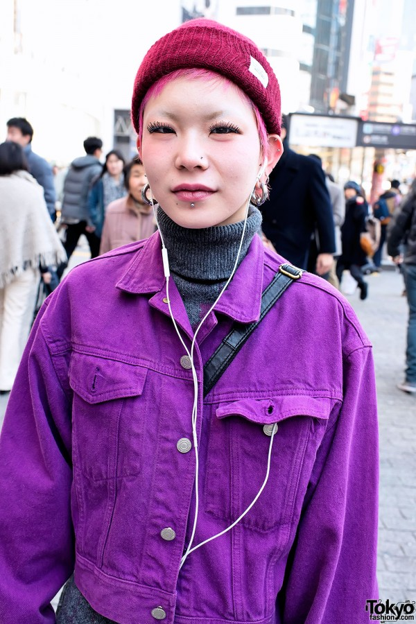 Pink Hair & Purple Denim Jacket