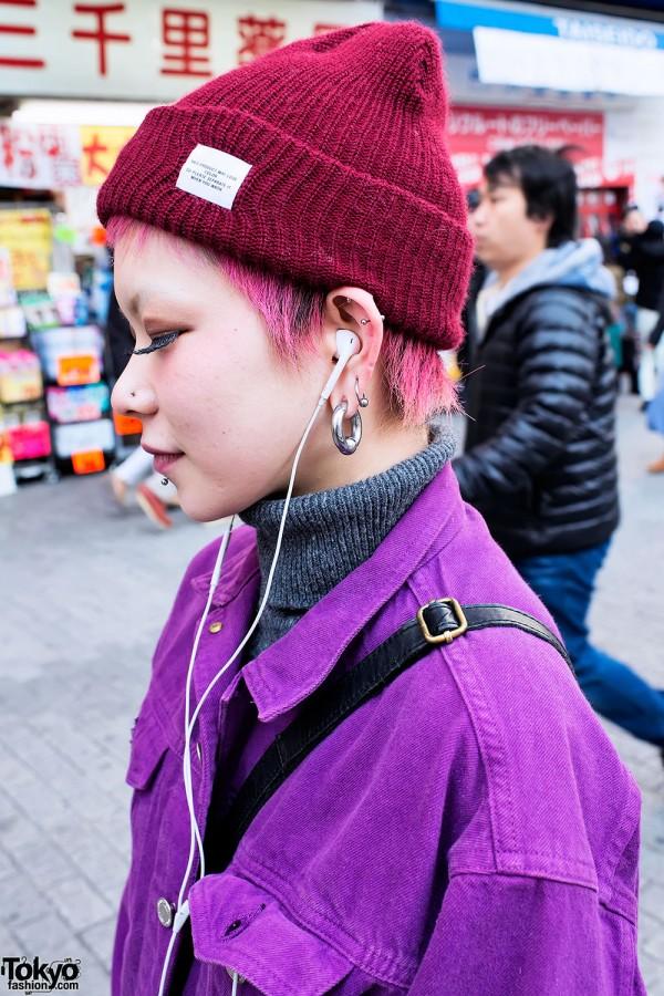 Pink Hair & Piercings in Shibuya