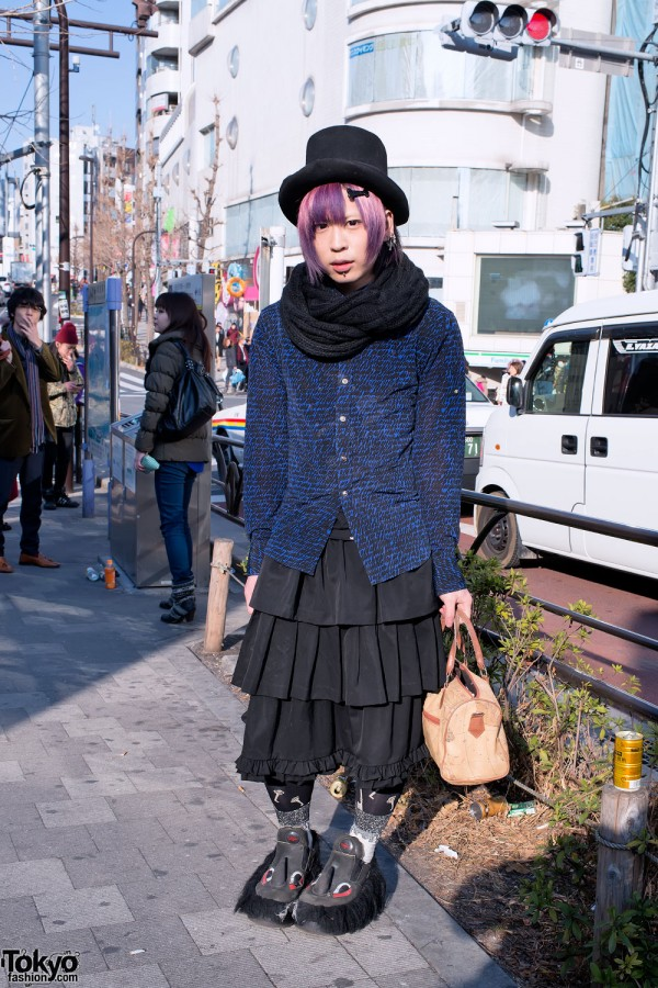 Purple Hair, Top Hat & Swear Alternative Shoes w/ Horns & Eyes in Harajuku
