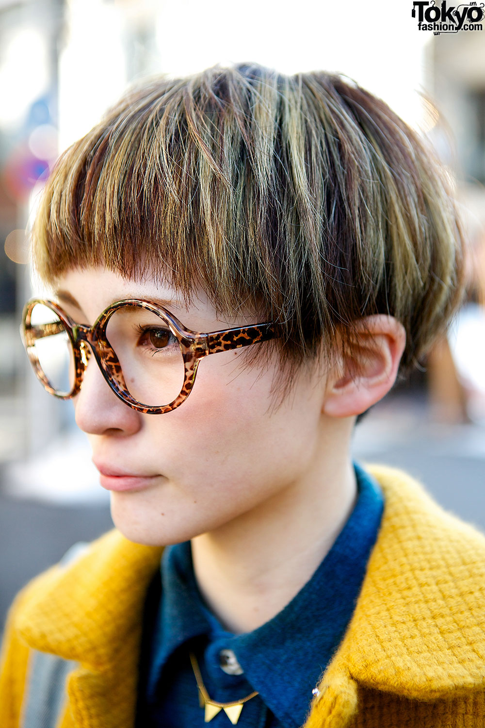 Cute Pixie Cut Round Glasses & Didizizi Mustard Coat in Harajuku