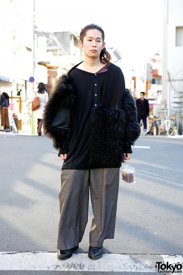 Graphic Designer in Matohu Knit Fur Coat, G.V.G.V. & Comme des Garcons