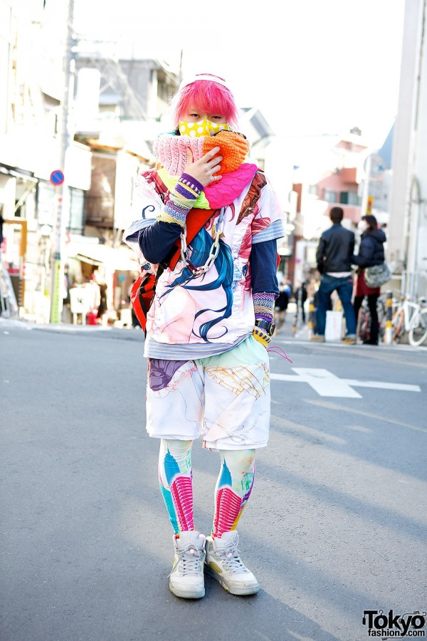 Kinoko Pink in Vivid Colors w/ Manga Print, Veveroparuuu & Leggings
