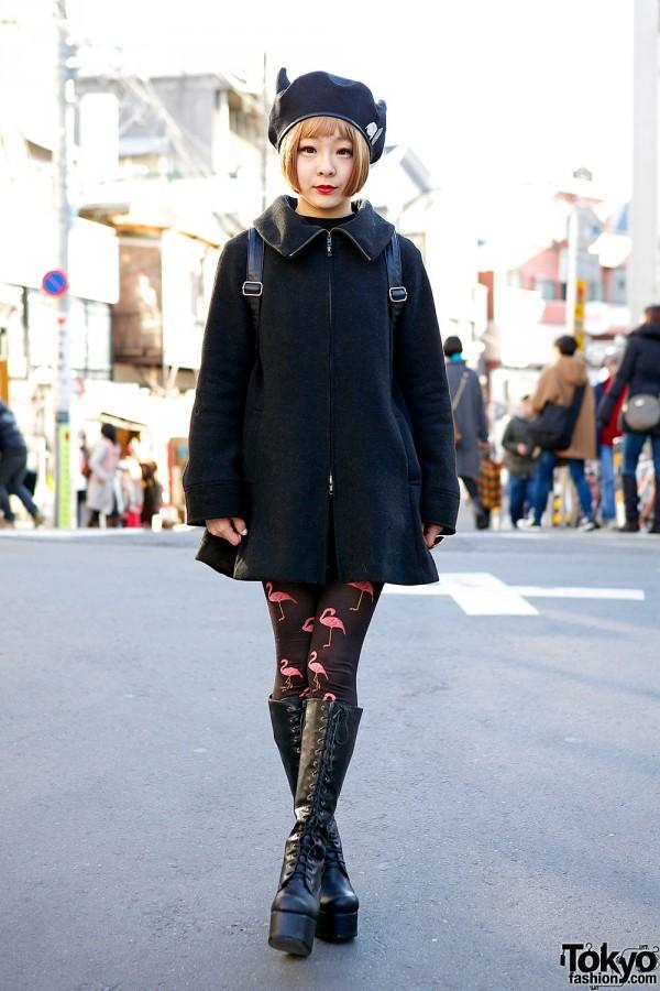 WC by Wakatsuki Chinatsu Coat, Avantgarde Harajuku Tights & Winged Backpack