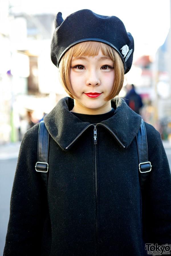 Cute coat & horns beret